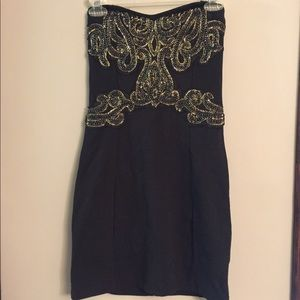 Free people strapless stretch sequin dress